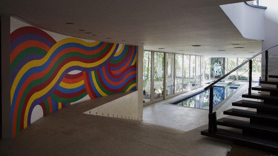 Obra do artista Sol Lewitt na mansao do ex-banqueiro Edemar Cid Ferreira - Lalo de Almeida/Folhapress