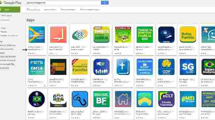 Apps variados aparecem na busca, mas o Caixa Auxílio Emergencial está em primeiro na Play Store - Reprodução