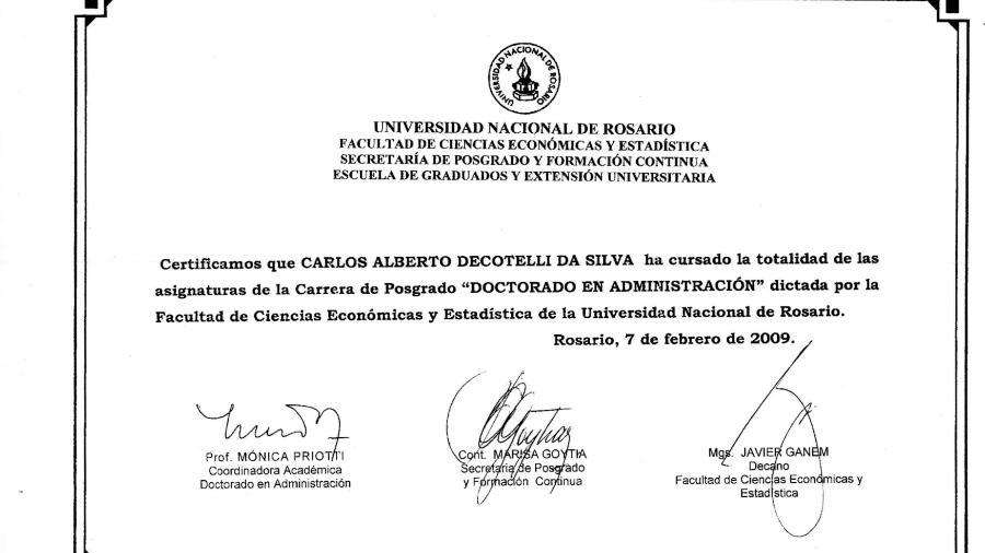 Certificado emitido pela Universidade de Rosário, na Argentina, apresentado pelo MEC - Reprodução