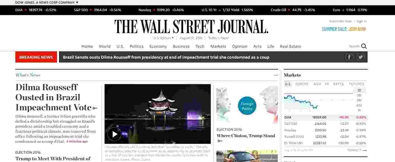 31.ago.2016 - O periódico The Wall Street Journal destacou o impeachment da presidente Dilma Rousseff. O jornal destacou que Dilma foi guerrilheira esquerda durante a ditadura, mas que deixa à presidência em meio a uma economia conturbada - Reprodução