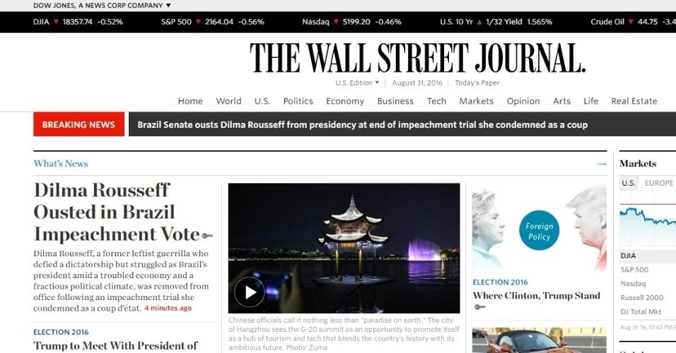 31.ago.2016 - O periódico The Wall Street Journal destacou o impeachment da presidente Dilma Rousseff. O jornal destacou que Dilma foi guerrilheira esquerda durante a ditadura, mas que deixa à presidência em meio a uma economia conturbada