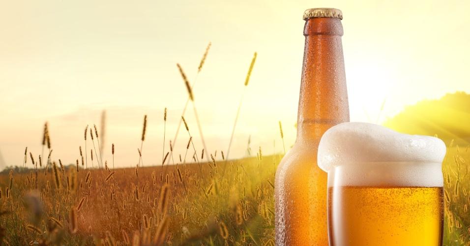 Cerveja e campo de cevada