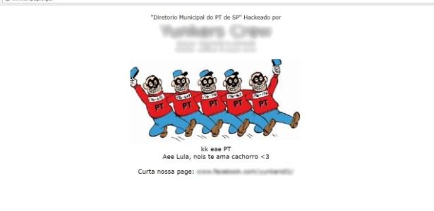 Página do diretório municipal do PT em São Paulo é atacado por hackers