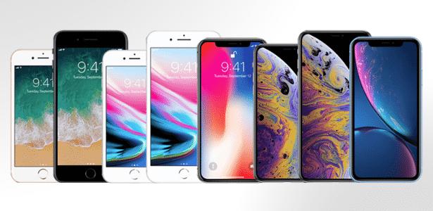 Conheça as diferenças entre o iPhone X (centro) e seu novos irmãos (à direita) - Arte/UOL