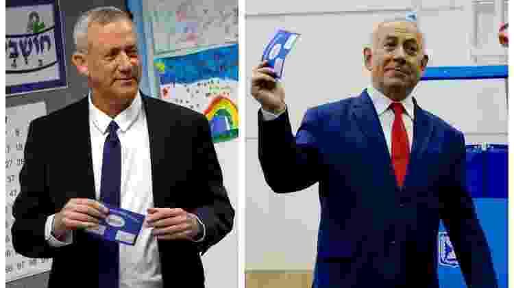 Benny Gantz, líder da aliança Azul e Branco, e o atual primeiro-ministrom Benjamin Netanyahu - Ariel Schalit/Pool/Reuters