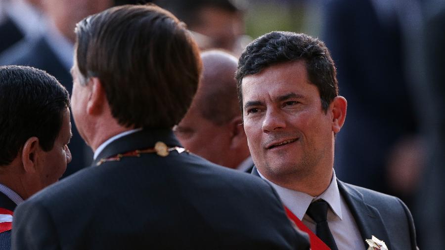 O presidente Jair Bolsonaro e o ministro Sérgio Moro (Justiça) em evento em Brasília - Pedro Ladeira - 13.ago.19/Folhapress