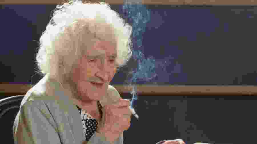 Jeanne Calment retratada em seu 117º aniversário - Getty Images