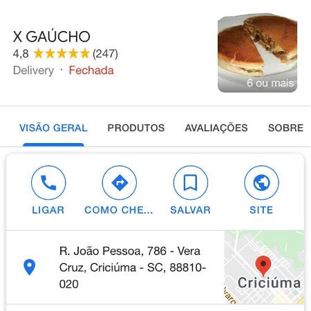 """""""Lanche bom e você coloca três estrelas? Assim você acaba com nosso trabalho"""", escreveu o X Gaúcho a uma consumidora - Reprodução/Google"""
