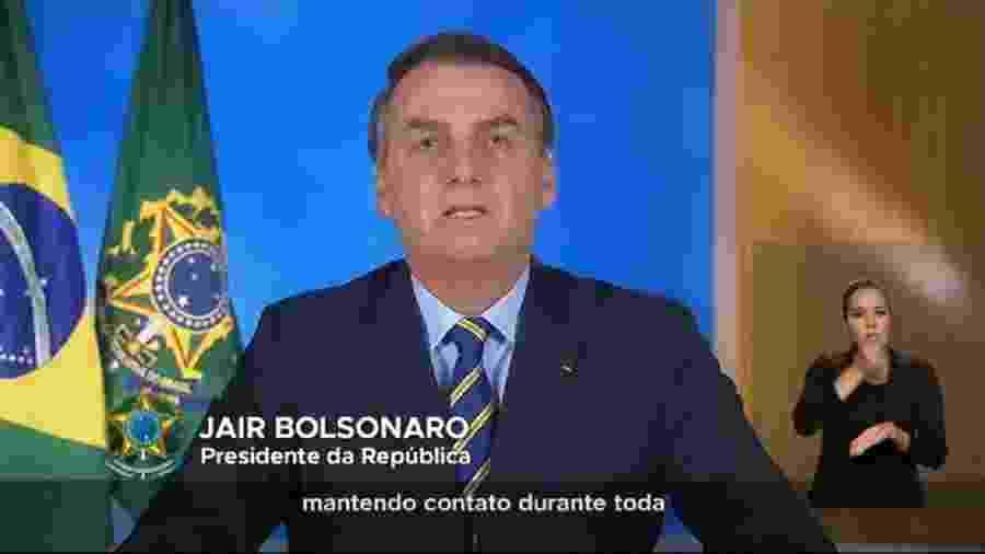 Frame do vídeo com o pronunciamento de Bolsonaro do dia 31.03.20 - Reprodução/Youtube