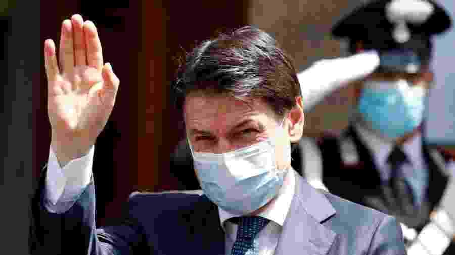 20.mai.2020 - Primeiro-ministro da Itália, Giuseppe Conte, com máscara de proteção contra o novo coronavírus - Mondadori Portfolio via Getty Images