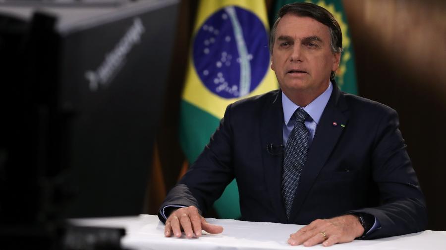 Jair Bolsonaro (sem partido) em gravação de discurso para a 75ª Assembleia Geral da ONU - Marcos Corrêa/PR