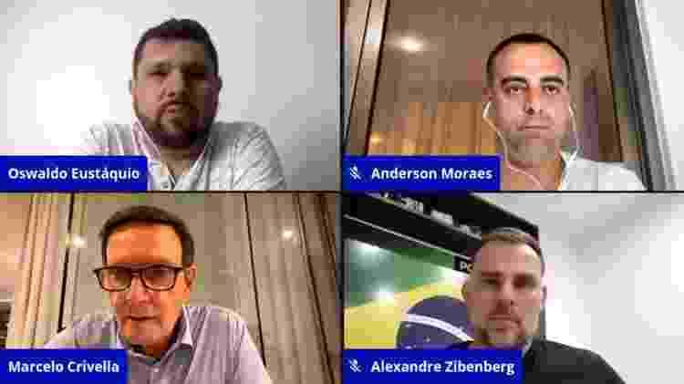 Crivella em live com Anderson Moraes, Alexandre Zibenberg e Oswaldo Eustáquio - Reprodução - Reprodução