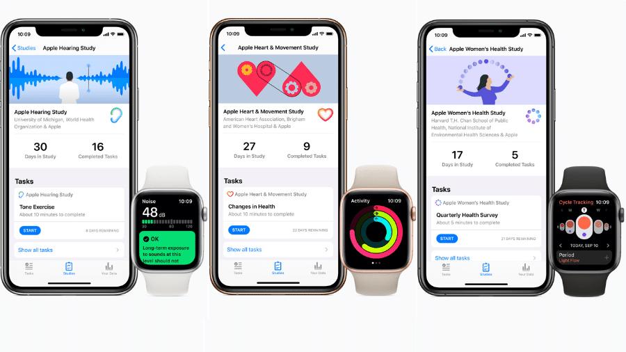Apple investe em pesquisa na área de saúde usando iPhone e Apple Watch - Reprodução/apple.com