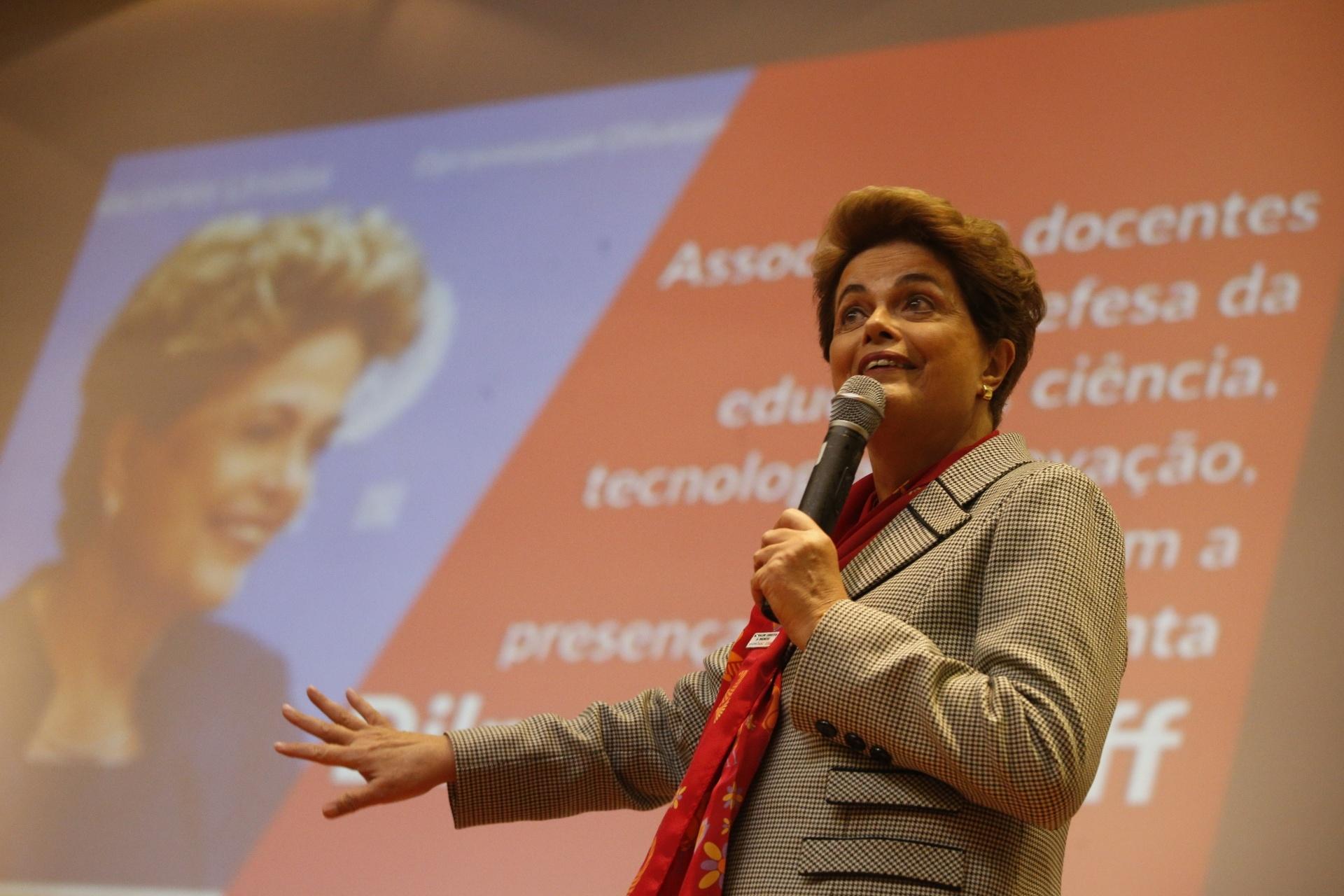 18.jul.2016 - A presidente afastada, Dilma Rousseff, participa do ato