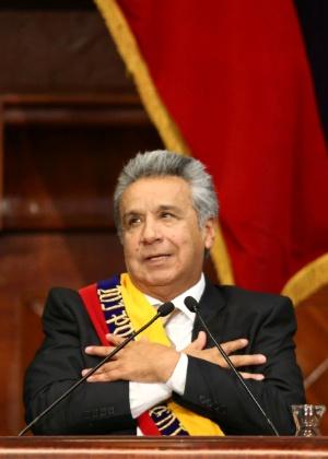 24.mai.2017 - O presidente do Equador, Lenín Moreno, toma posse na Assembleia Nacional em Quito