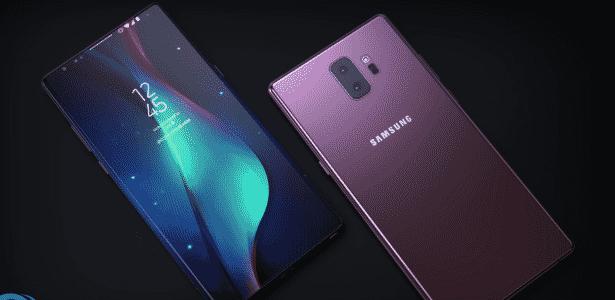 Novo Galaxy Note 9 pode ter essa aparência com tela bem infinita, mas não é provável - Reprodução - Reprodução