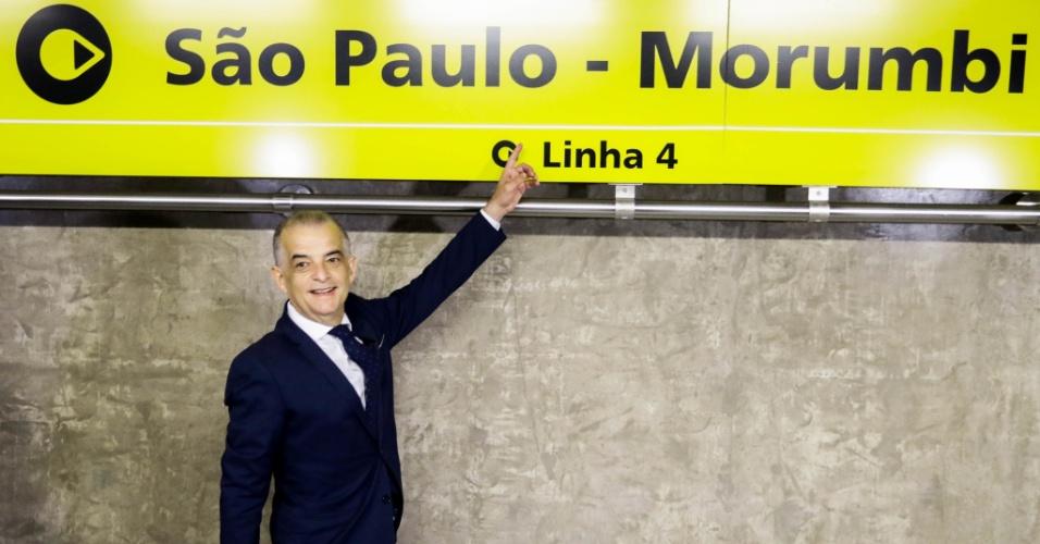26.out.2018 - O governador Márcio França faz visita técnica, nesta sexta-feira (26), na Estação São Paulo-Morumbi da Linha 4-Amarela que será inaugurada amanhã (27), após longo período de atraso.