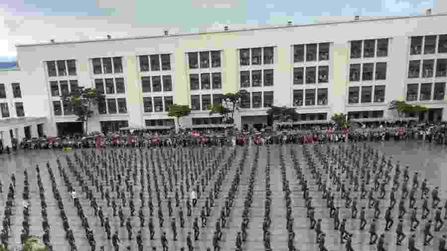 Cerimônia de formatura dos aspirantes a oficiais da Aman. O presidente eleito, Jair Bolsonaro, acompanhou a solenidade - Gabriel Sabóia/UOL