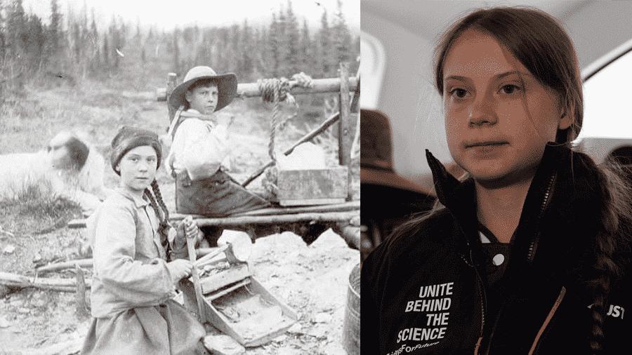 Montagem com foto de arquivo e a ativista Greta  Thunberg - Montagem/Arquivo da Universidade de Washington/AFP