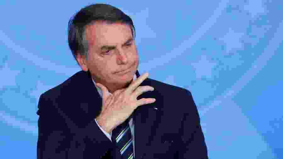 Presidente Jair Bolsonaro (sem partido) durante cerimônia no Palácio do Planalto - ADRIANO MACHADO