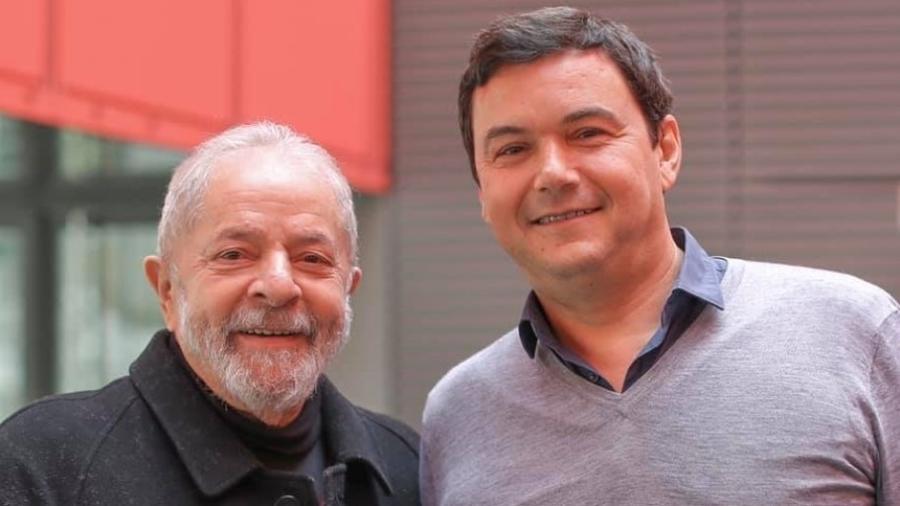 O ex-presidente Luiz Inácio Lula da Silva se encontrou com o economista Thomas Piketty em Paris, na França - Ricardo Stuckert/Reprodução
