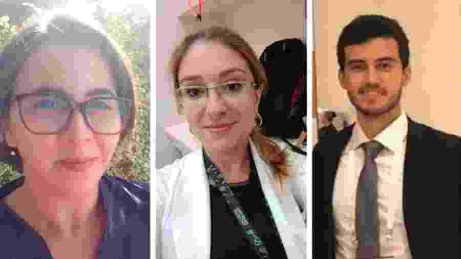 Fernanda (esq.), Letícia (centro) e David (dir.) estão entre os 200 voluntários dos cursos de medicina e enfermagem - Arquivo pessoal