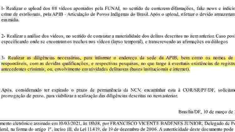 Documento que integra inquérito aberto pela Polícia Federal a pedido do presidente da Funai, Marcelo Xavier - Reprodução - Reprodução