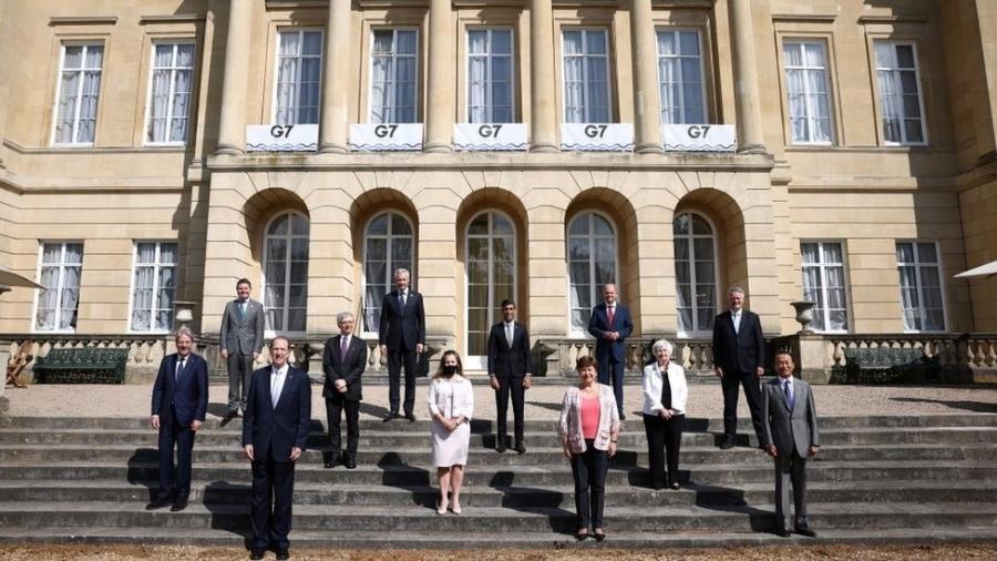 Os participantes da reunião do G7 posaram para fotos na Lancaster House, em Londres - Getty Images
