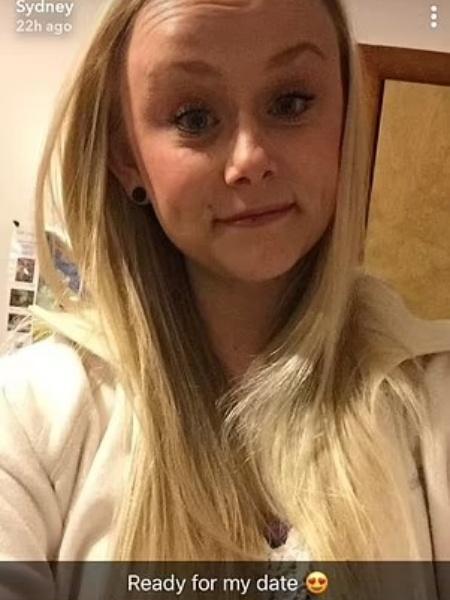 Última foto postada por Sydney Loofe, pouco antes de ir se encontrar com o assassino, em 2017 - Reprodução/Snapchat