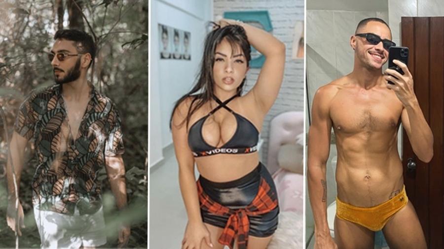 Cezar, Emanuelly e João são exemplos de brasileiros que decidiram criar perfis no OnlyFans para ganhar dinheiro - Montagem: Elias Aranha/ Arquivo pessoal