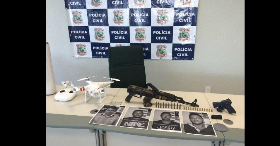 Assaltante de banco no CE - Quatro homens foram presos acusados de participar de uma quadrilha que assaltava bancos no Ceará utilizando, além das armas, drones. Os veículos aéreos não tripulados, como são chamados no Brasil, eram utilizados para planejar os crimes