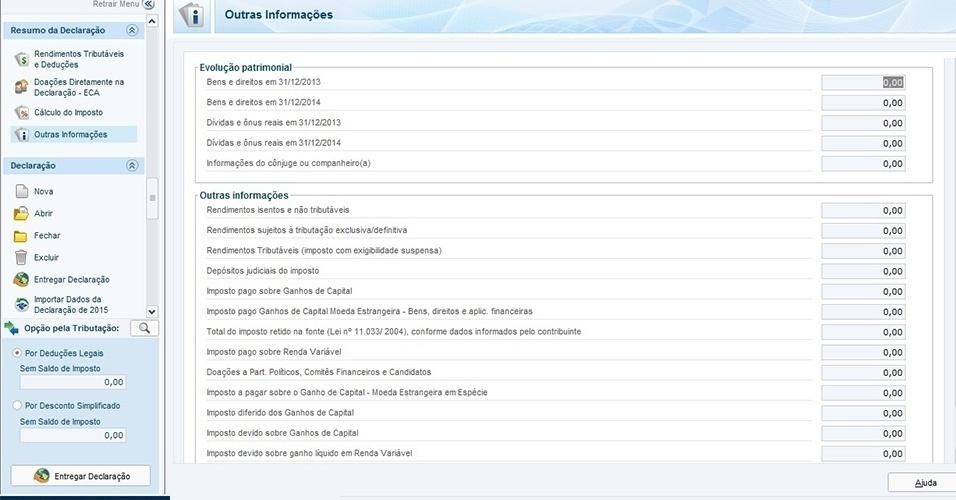 A ficha apresenta informações automáticas sobre evolução do patrimônio, rendimentos e imposto retido, entre outras