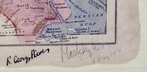 Assinaturas dos diplomatas Mark Sykes, britânico, e François Georges-Picot, francês, em documento de 16 de maio de 1916