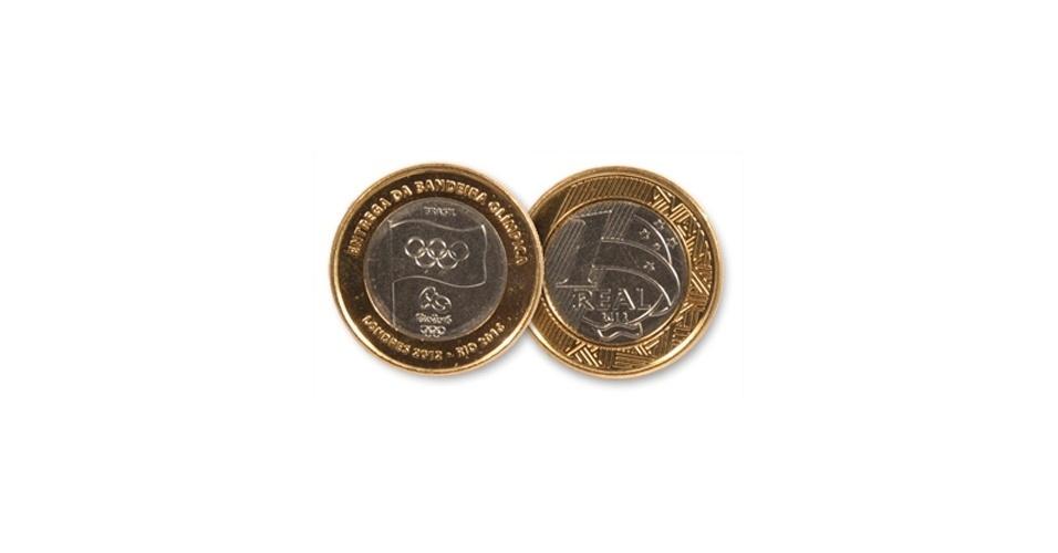 A moeda que comemora a entrega da bandeira Olímpica ao Rio de Janeiro, em 2012, é mais rara entre os colecionadores, porque teve tiragem menor. Ela não faz parte da série de 16 moedas lançada pelo Banco Central, e entrou em circulação em 2012