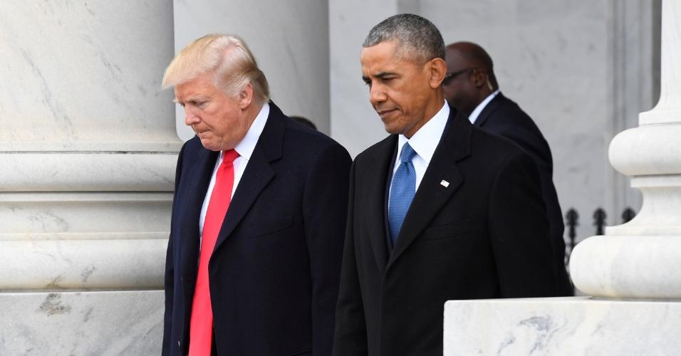 20.jan.2017 - Trump e Obama durante a posse do empresário como presidente dos Estados Unidos