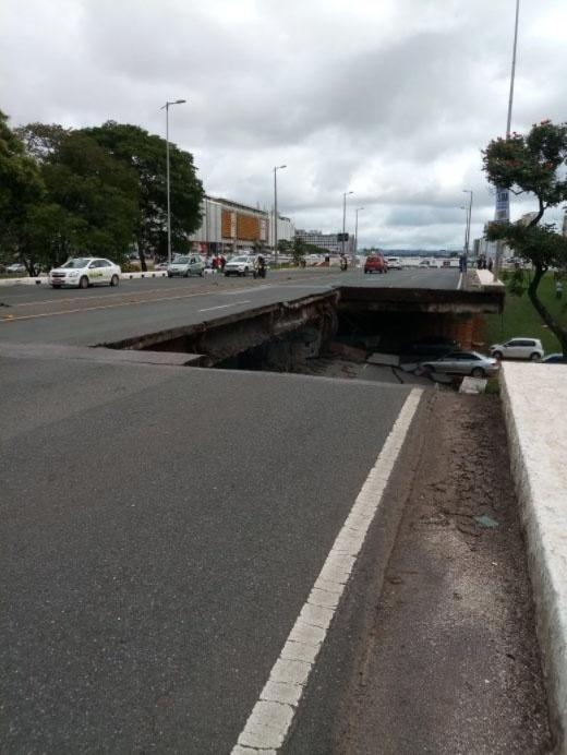 6.fev.2018 - Viaduto em Brasília desabou no início da tarde desta terça-feira (6)