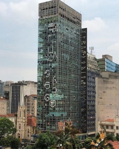 1º.mai.2018 - Foto de arquivo do edifício Wilton Paes de Almeida, que desabou no centro de São Paulo após um incêndio. O prédio de 24 andares localizado no Largo do Paissandu foi sede da antiga Companhia Brasileira de Vidro e abrigou as sedes do INSS e da Polícia Federal