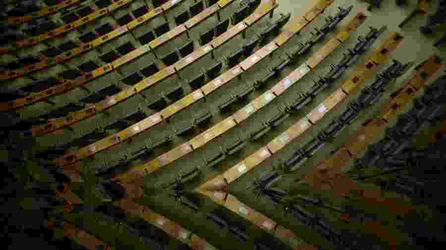 O plenário das sessões do Congresso ende a ficar vazio durante as votações remotas - Pedro Ladeira/Folhapress