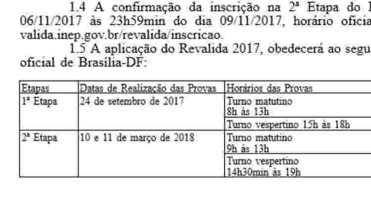 Primeiro edital indicava que a prova da 2ª etapa aconteceria nos dias 10 e 11 de março de 2018 - Reprodução