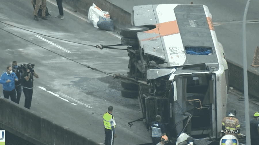 Ônibus tombou no sentido centro da Linha Vermelha, no Rio - Reprodução/TV Globo