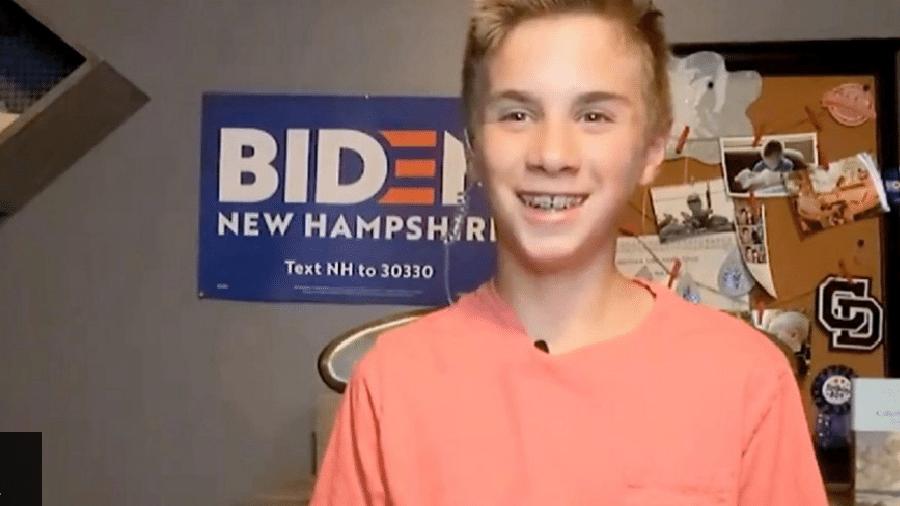 Discurso de Brayden Harrington, de 13 anos, durante a conveção do Partido Democrata roubou a cena  - Reprodução