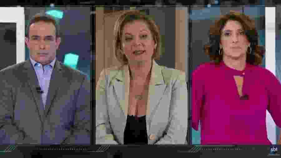 Joice Hasselmann compara Bolsonaro e Doria a duas crianças atirando bolinha de papel um ao outro - Reprodução/SBT