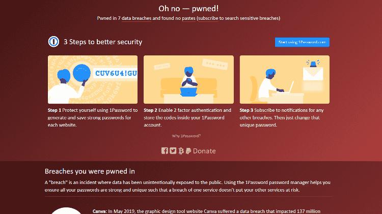 Tela do site Have I Been Pwned 2 - Reprodução - Reprodução