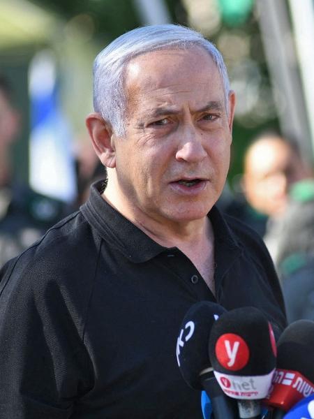 13.mai.2021 - O primeiro-ministro de Israel, Benjamin Netanyahu, durante entrevista coletiva - Yuval Chen/Pool/AFP