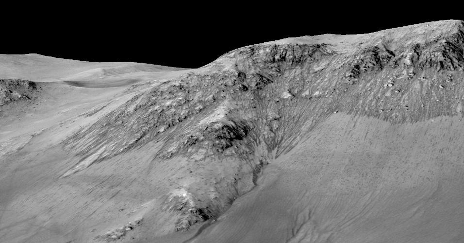 28.set.2015 - Imagens de alta resolução mostraram que as estrias aparecem nas encostas da cratera durante as estações quentes e alongam-se para, em seguida, desaparecerem durante as estações mais frias. A variação de temperatura sugere que elas sejam feitas por água líquida