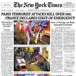 14.nov.2015 - O jornal norte-americano destaca, na edição impressa deste sábado, imagens da tragédia e a declaração de estado de Emergência em todo país - Reprodução