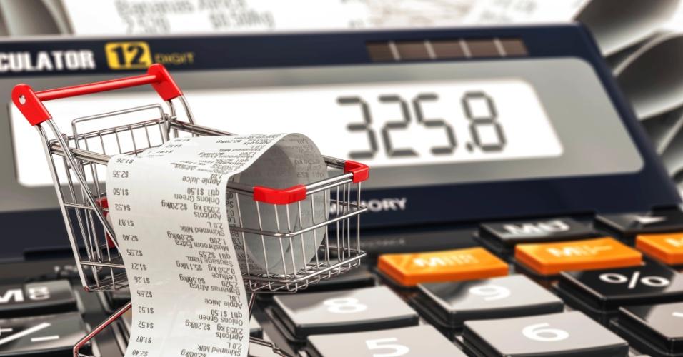 Carrinho de compras, inflação, poder de compra, dinheiro, bolso