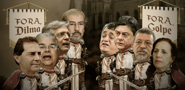 Cena de batalha: À esquerda, os escudeiros pró-impeachment: os deputados federais Paulinho da Força (SD-SP), Lúcio Vieira Lima (PMDB-BA), Pauderney Avelino (DEM-AM) e Antonio Imbassahy (PSDB-BA). À direita, os escudeiros de Dilma Rousseff, contra o impeachment: os deputados federais José Guimarães (PT-CE), Wadih Damous (PT-RJ), Afonso Florence (PT-BA) e Jandira Feghali (PC do B-RJ)