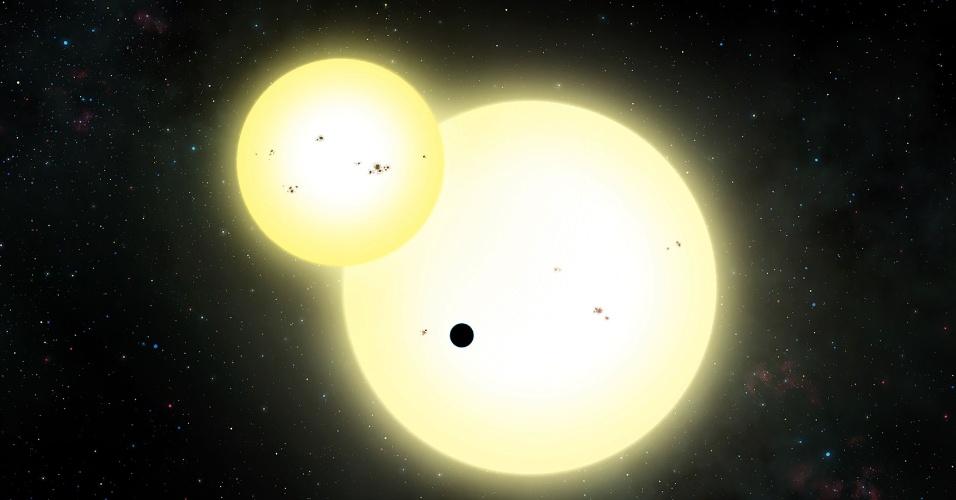 13.jun.2016 - Concepção artística de um eclipse durante trânsito do planeta Kepler-1647