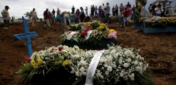 Presos mortos nos confrontos no Compaj, em Manaus, são enterrados